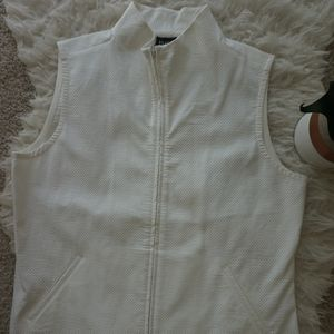Eileen Fisher Womens Full Zip Vest Sz M White